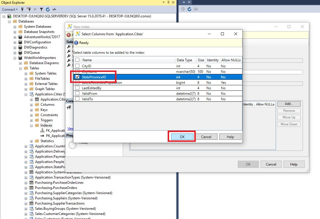 Creating indexes in ssms Step 3